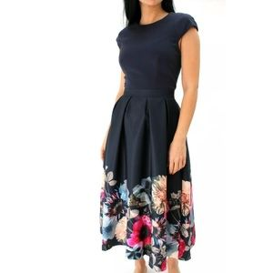 Ted baker Valquir floral poppy midi dress size 4